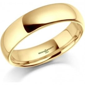 18ct Yellow Gold Plain Court Wedding Ring 6mm