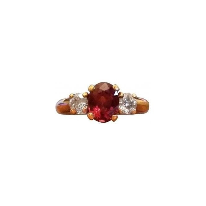 18ct Yellow Gold Red Spinel and Diamond Ring