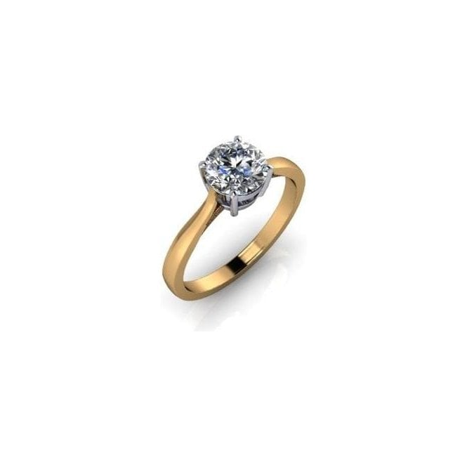 18ct Yellow Gold Single Stone Brilliant Cut Diamond Ring