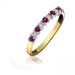 18ct Yellow & White Gold Ruby and Diamond 1/2 Eternity Set Ring