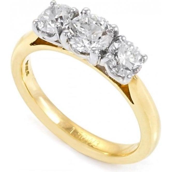 18ct Yellow & White Gold Three Stone Diamond Ring