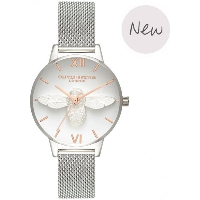 Olivia Burton Watches 3D Bee Rose gold & silver mesh OB16AM146
