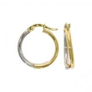 9 carat yellow & white gold hoop earrings