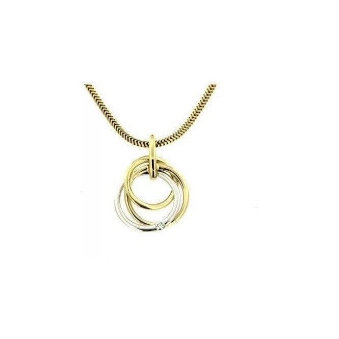9ct White and Yellow Gold Diamond Circle Pendant