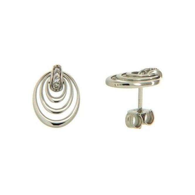 9ct White Gold 5 Stone Diamond Loop Earrings