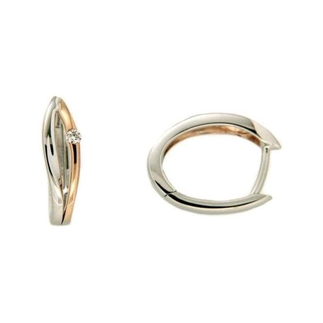 9ct White Gold Diamond Hinged Earrings