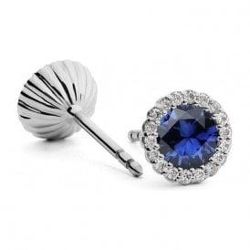 Andrew Geoghegan 18ct Sapphire & Diamond Cannele Earrings
