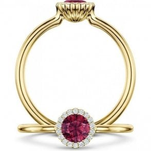 Andrew Geoghegan 18ct Yellow Gold Ruby Cannele Ring