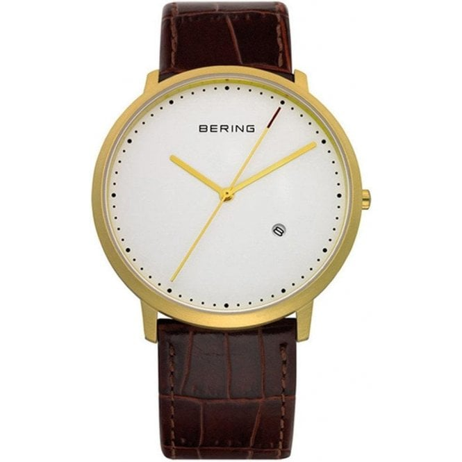 Bering Watches Bering Classic Collection Watch with White Dial and Brown Strap