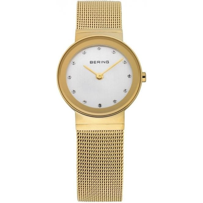 Bering Watches Bering Classic Gold Plated Mesh Watch with White Dial