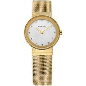 Bering Classic Gold Plated Mesh Watch with White Dial