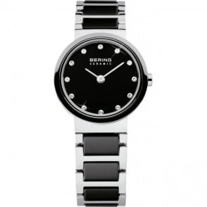 Bering Ceramic and Steel Watch with Black Bracelet