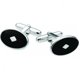 Carrs Silver and Black Inset T Bar Cufflinks