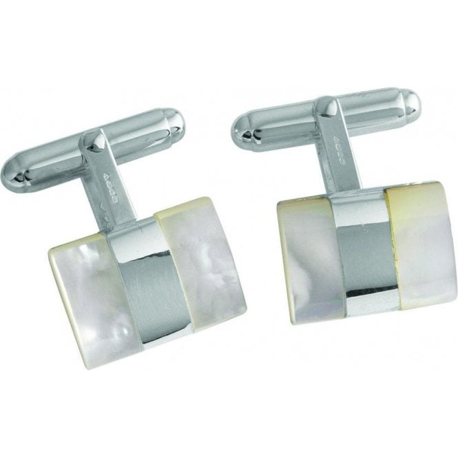 Carrs Silver Oblong Mother of Pearl Cufflinks