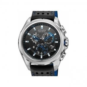 Citizen Gents Stainless Steel Eco Drive on Black Strap Watch
