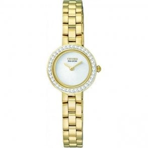 Citizen Ladies Gold Plated & Crystal Set Bezel Eco Drive Watch