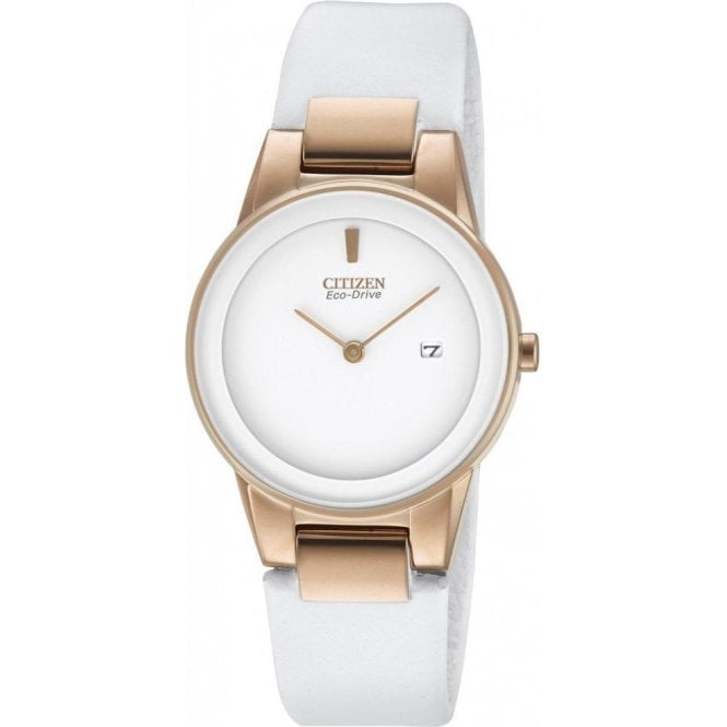 Citizen Watches Citizen Ladies White Leather Strap Eco Drive Watch