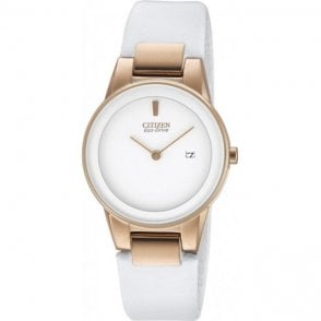 Citizen Ladies White Leather Strap Eco Drive Watch