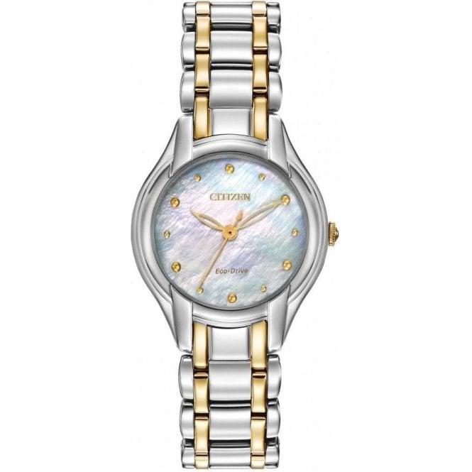 Citizen Watches Citizen Ladies Two-Tone Diamond Eco-Drive Watch EM0284-51D