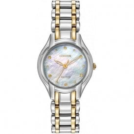 Citizen Ladies Two-Tone Diamond Eco-Drive Watch EM0284-51D