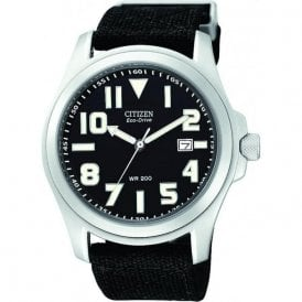 Gents Eco Drive Black Strap and Dial BM6400 00E