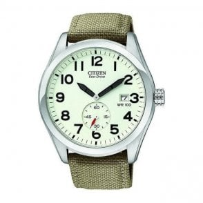 Gents Eco Drive Citizen on fabric Strap BV1080 18A