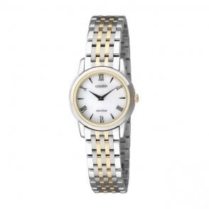 """Ladies Classical """"Stiletto"""" Eco Drive Two-Tone Watch EG3048-58A"""