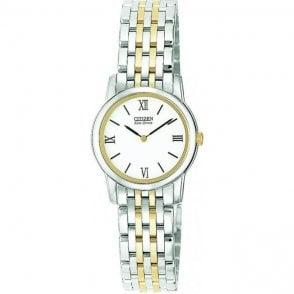 Ladies Eco Drive Two Colour Bracelet Watch EG3044 59A