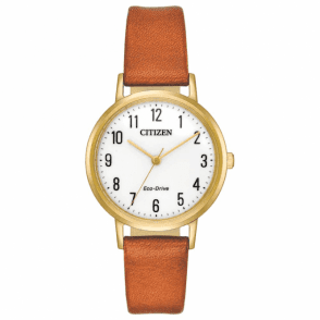 ladies gold plated strap watch