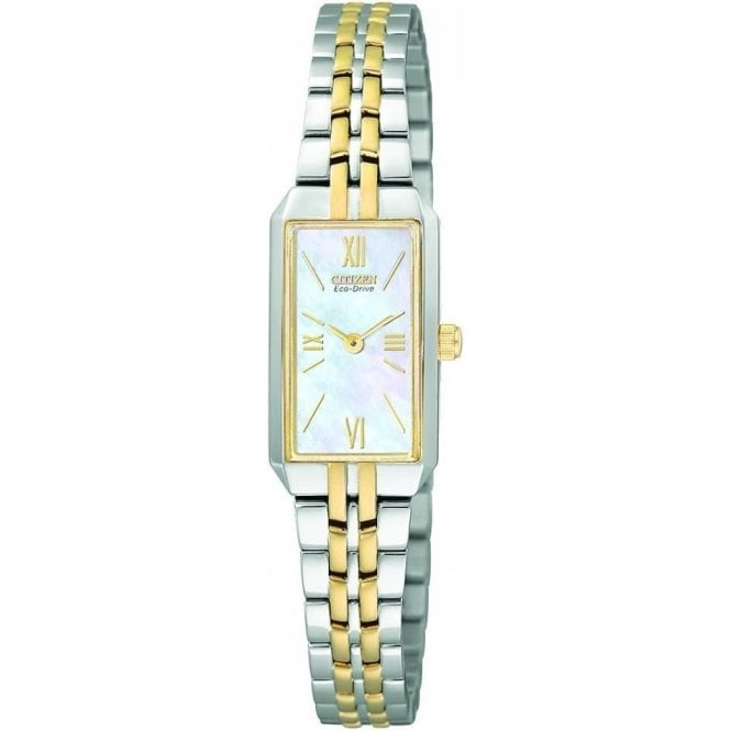 Citizen Watches Ladies Rectangular Two-Tone Eco Drive Watch EG2694-59D