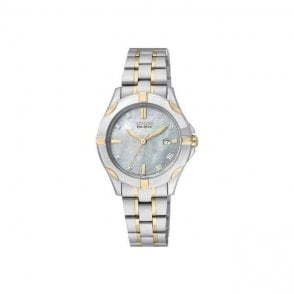 Ladies Silhouette Diamond Set Blue Mother of Pearl Watch