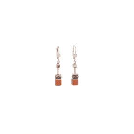 Coeur De Lion GeoCube Dark Orange Earrings