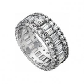 Diamonfire serling silver baguette and brilliant CZ full band