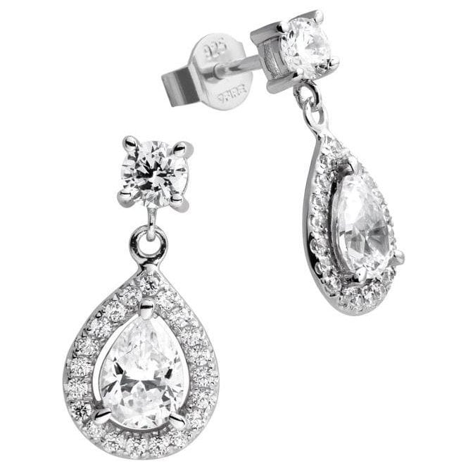 Diamonfire Silver Cubic Zirconia Pear Cluster Drop Earrings