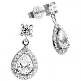 Diamonfire Silver Cubic Zirconia Pear Cluster Drop Earrings