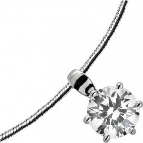 Diamonfire Silver Cubic Zirconia Single Stone Round Pendant