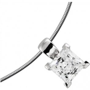 Diamonfire Silver Cubic Zirconia Square Pendant & Chain