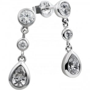 Diamonfire Silver Cubic Zirconia Three Stone Drop Earrings