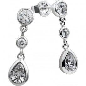 Diamonfire Silver Cubic Zirconia Three Stone Drop Earrings