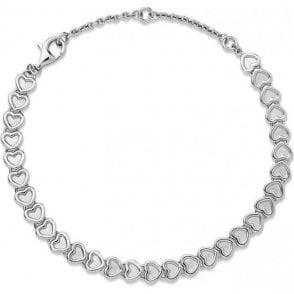Endless Love Sterling Silver Mini Heart Bracelet