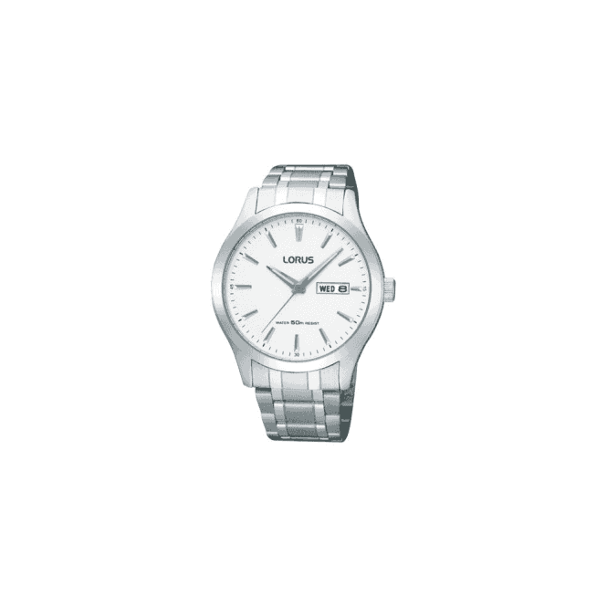 Lorus Gents classic steel Lorus quartz with day and date display.