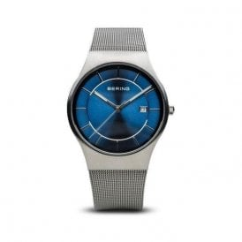 Gents steel blue dial Bering quartz on bracelet, 11938-003