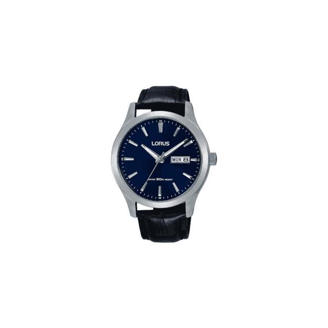 Lorus Gents steel  blue dial dress watch on black strap. RXN33DX9