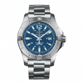Gents steel Breitling Colt Chronograph with blue dial & strap.