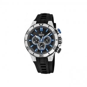 Gents steel Festina 2019 Chrono Bike model with rubber strap.