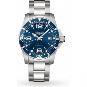 Gents steel Longines Hydroconquest blue dial automatic watch.