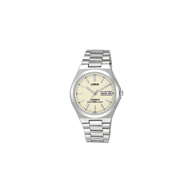 Lorus Gents steel Lorus quartz, lumibrite dial, bracelet. RXN31BX9
