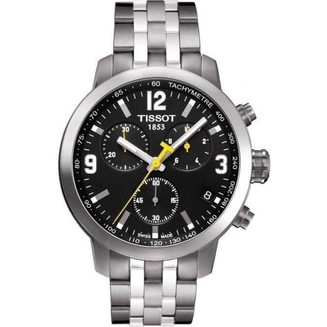 Tissot Watches Gents Tissot PRC 200 Black Chronograph on Bracelet