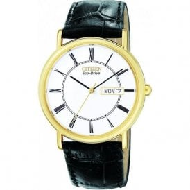 Gold Plated Eco Drive Gents Watch