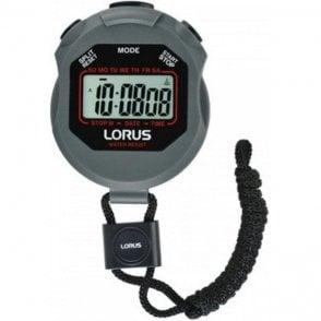Grey Lorus digital stopwatch with string lanyard. R2393HX9